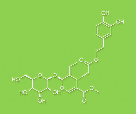 Oleuropein olive component molecule. In part responsible for pungency of virgin olive oil, may have beneficial properties. Skeletal formula.