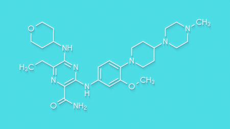 aml: Gilteritinib cancer drug molecule (kinase inhibitor). Skeletal formula.