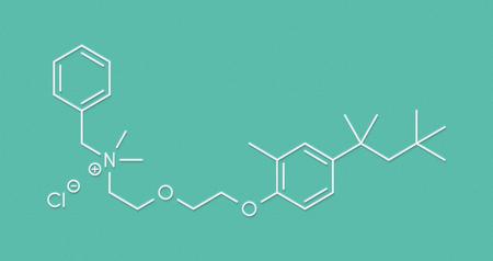 Methylbenzethonium chloride antiseptic molecule. Skeletal formula.