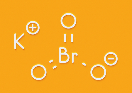 Potassium bromate (KBrO3, E924). Used as additive to flour in the baking of bread. Skeletal formula.