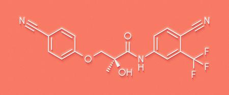 Enobosarm drug molecule. Selective androgen receptor modulator (SARM) that is also used in sports doping. Skeletal formula.