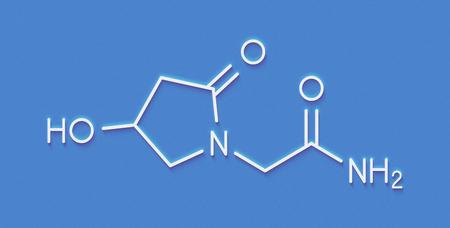 Oxiracetam nootropic drug molecule. Skeletal formula.