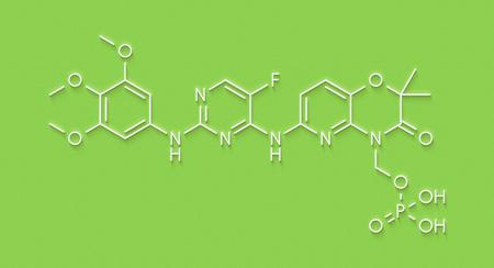 Fostamatinib rheumatoid arthritis drug molecule (Syk inhibitor). Skeletal formula. Stock Photo