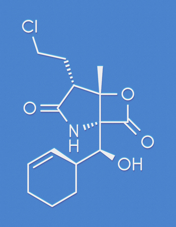 Marizomib (salinosporamide A) cancer drug molecule (proteasome inhibitor). Skeletal formula. Stock Photo