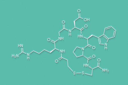 Eptifibatide anticoagulant drug molecule. Skeletal formula. Stock Photo