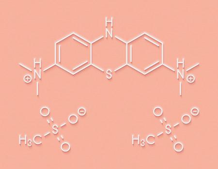 Leuco-methylthioninium (LMTX) Alzheimers disease molecule (tau aggregation inhibitor). Skeletal formula. Stock Photo