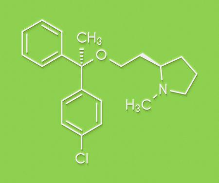 Clemastine (meclastine) antihistamine drug molecule. Used to treat allergy and itching. Skeletal formula.
