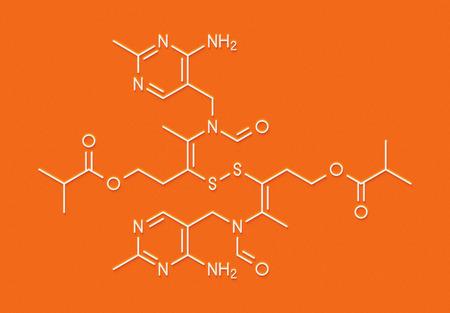 Sulbutiamine asthenia drug molecule. Also used in nutritional supplements. Skeletal formula.