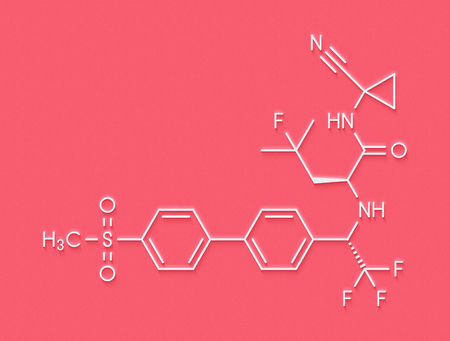 Odanacatib osteoporosis and bone metastasis drug molecule. Inhibitor of cathepsin K. Skeletal formula.