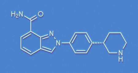 Niraparib cancer drug molecule (PARP inhibitor). Skeletal formula.