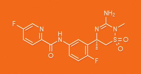 protease: Verubecestat Alzheimers disease drug molecule (BACE1 inhibitor). Skeletal formula.