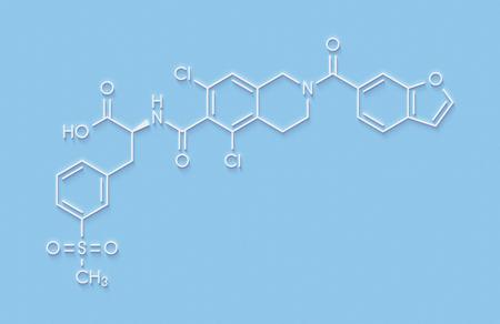 Lifitegrast drug molecule. Used in the treatment of keratoconjunctivitis sicca. Skeletal formula.