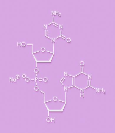 aml: Guadecitabine cancer drug molecule (DNA methyltransferase inhibitor). Skeletal formula.