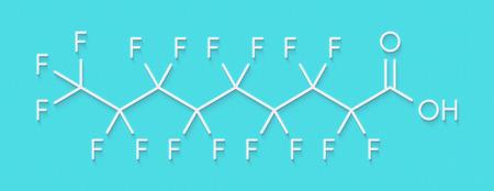 Perfluorononanoic acid (PFNA, perfluorononanoate) surfactant molecule. Skeletal formula. Stock Photo