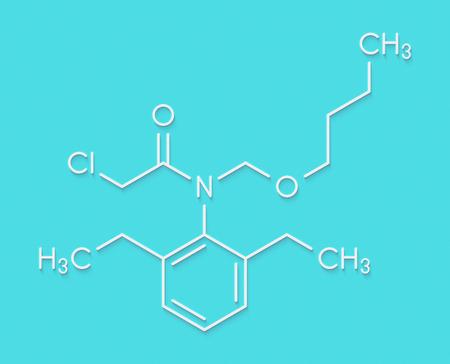 Butachlor herbicide molecule. Skeletal formula.