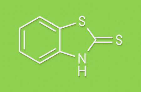 Mercaptobenzothiazole (MBT) skin sensitizer molecule. Used as rubber vulcanising agent. Skeletal formula.