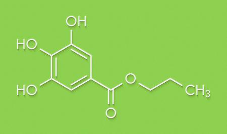 Propyl gallate antioxidant food additive molecule. Skeletal formula. Stock Photo