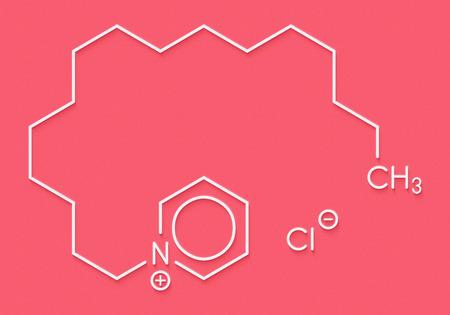 Cetylpyridiniumchloride antiseptisch molecuul. Skeletachtige formule.
