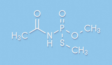 systemic: Acephate insecticide molecule. Skeletal formula. Stock Photo