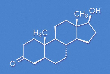 Dihydrotestosterone (DHT, androstanolone, stanolone) 호르몬 분자. 골격 공식.