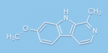 oxidase: Harmine alkaloid molecule. Herbal inhibitor of monoamine oxidase A. (MAO-A). Skeletal formula. Stock Photo