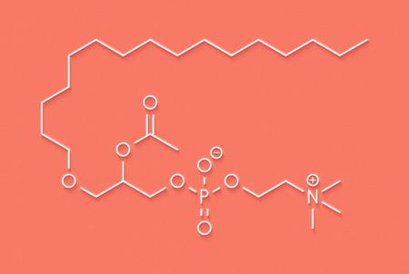 Platelet Activating Factor (PAF) signaling molecule. Skeletal formula.