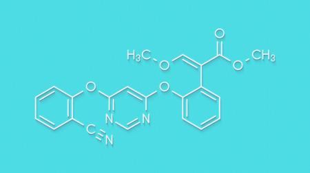 Azoxystrobin fungicide molecule. Skeletal formula. Stock Photo