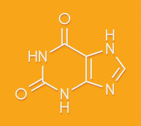Xanthine purine base molecule. Skeletal formula. Stock Photo