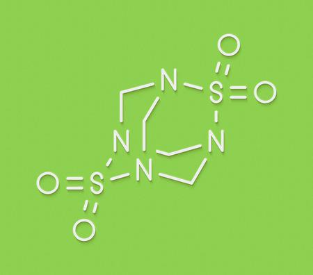 Tetramethylenedisulfotetramine (TETS) rodenticide molecule. Skeletal formula.