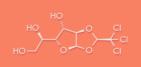 Chloralose rodenticide molecule. Skeletal formula.