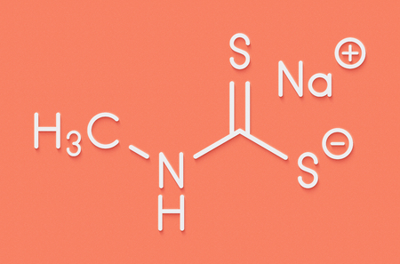 fungicide: Metam sodium pesticide molecule. Skeletal formula. Stock Photo