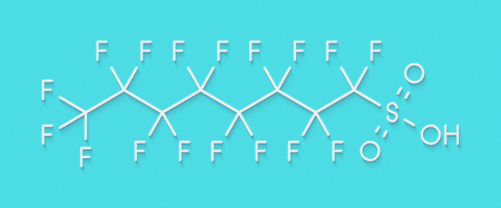 Perfluorooctanesulfonic acid (perfluorooctane sulfonate, PFOS) persistent organic pollutant molecule. Skeletal formula.