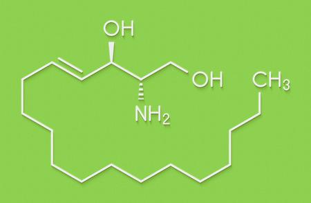 Sphingosine lipid molecule. Skeletal formula.