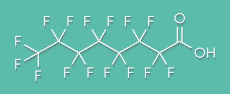 Perfluorooctanoic acid (PFOA, perfluorooctanoate) carcinogenic pollutant molecule. Skeletal formula. Stock Photo