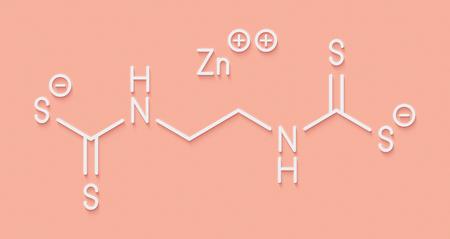 fungicide: Zineb zinc organosulfur fungicide molecule. Skeletal formula.