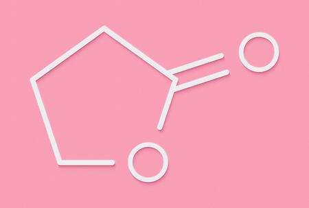 Gamma-Butyrolacton (GBL) Lösungsmittelmolekül. Verwendet als Prodrug Form von GHB (Gamma-Hydroxybuttersäure). Skelettformel.