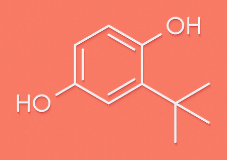 TBHQ (tert-Butylhydroquinone) antioxidant preservative molecule. Skeletal formula.