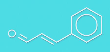 fungicide: Cinnamaldehyde (cinnamic aldehyde) cinnamon flavor molecule. Skeletal formula.