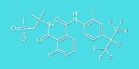 flubendiamide insecticide molecule (ryanoid class). Skeletal formula.