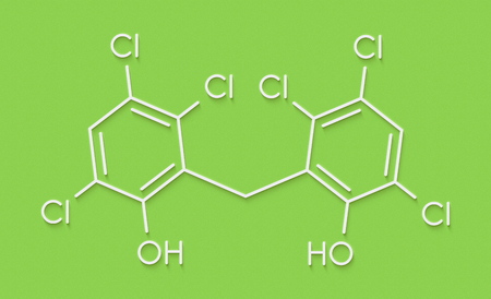 Hexachlorophene disinfectant molecule. Skeletal formula.
