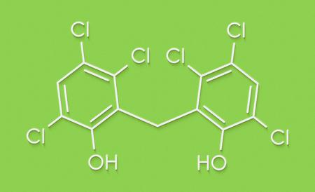 fungicide: Hexachlorophene disinfectant molecule. Skeletal formula.