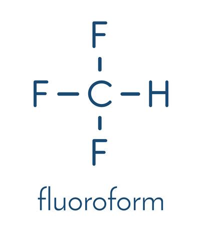 fluorine: Fluoroform greenhouse gas molecule. Skeletal formula.