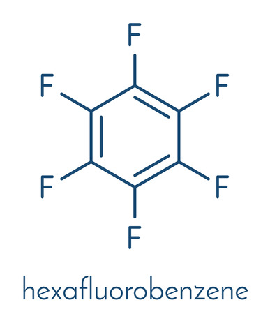 atomic: Hexafluorobenzene molecule. Skeletal formula.