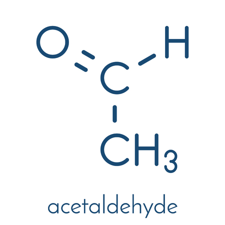 Acetaldehyde (ethanal) molecule, chemical structure. Acetaldehyde is a toxic molecule responsible for many symptoms of alcohol hangover.  Skeletal formula. Illustration