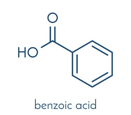 安息香酸分子。安息香酸塩は、食品防腐剤として使用されます。骨格式。