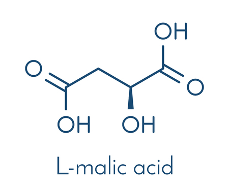 atomic: Malic acid fruit acid molecule. Present in apples, grapes, rhubarb, etc and contributes to the sour taste of these. Skeletal formula.