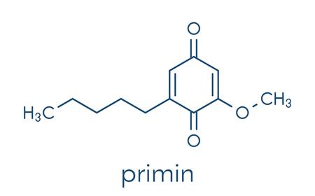 Primin primrose plant allergen molecule. Skeletal formula.