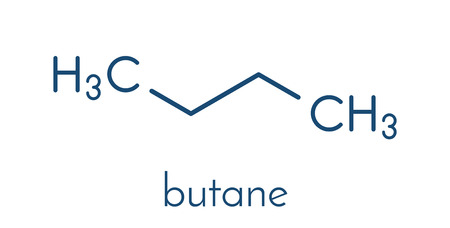 refrigerant: Butane hydrocarbon molecule. Commonly used as fuel gas, alone or combined with propane (LPG, liquified petroleum gas). Skeletal formula.