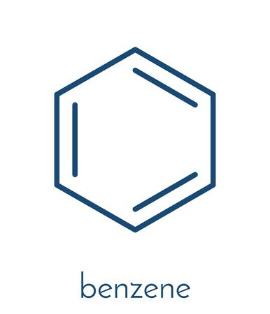ベンゼン芳香族炭化水素分子。石油化学、ガソリンの成分に重要。骨格式。