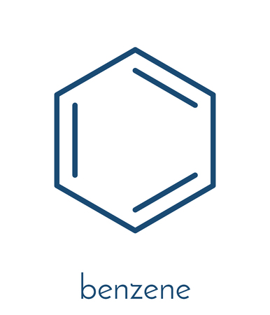 Benzene aromatic hydrocarbon molecule. Important in petrochemistry, component of gasoline. Skeletal formula.